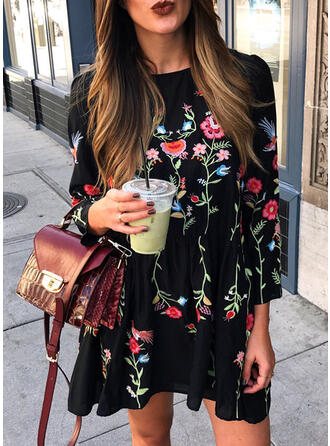 Floral/Animal Print Long Sleeves Shift Above Knee Casual Tunic Dresses