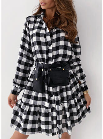 Plaid Long Sleeves A-line Above Knee Casual Shirt/Skater Dresses