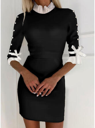 Color Block/Beaded 1/2 Sleeves Bodycon Above Knee Elegant Dresses