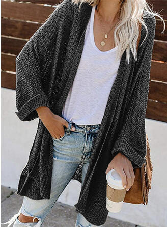 Cotton Blends Acrylic Long Sleeves Solid Chunky knit Cardigans