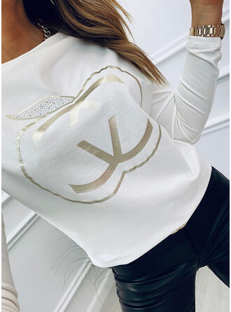 Print Sequins Round Neck Long Sleeves T-shirts