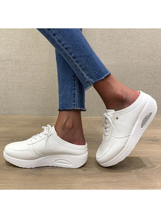 Women's Leatherette Flat Heel Loafers Sneakers With Lace-up Solid Color shoes