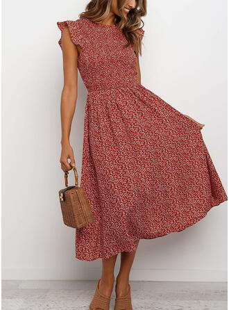 Print Cap Sleeve A-line Skater Casual/Vacation Midi Dresses