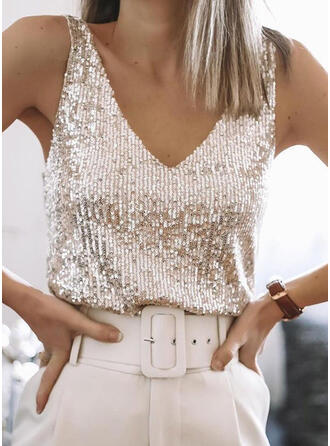 Solid Sequins V-Neck Sleeveless Casual Tank Tops