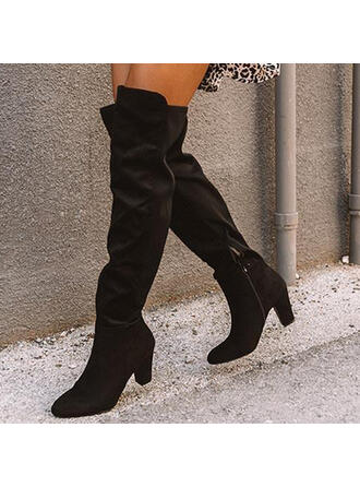 Women's Suede Chunky Heel Boots Winter Boots With Zipper Solid Color shoes