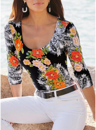 Floral Print U-Neck 3/4 Sleeves T-shirts