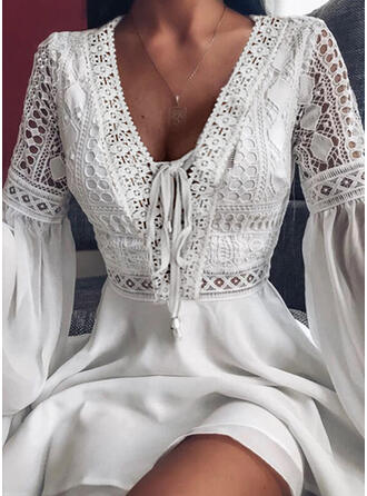 Lace/Solid/Lace-up Long Sleeves/Flare Sleeves A-line Above Knee Elegant/Vacation Skater Dresses