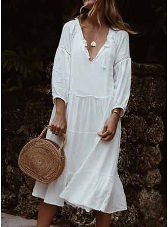 Lace/Solid 3/4 Sleeves Shift Tunic Casual Midi Dresses