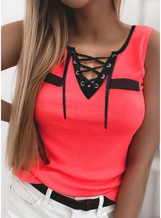 Color Block Lace-up V-Neck Sleeveless Tank Tops