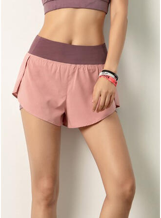 Solid Plus Size Sporty Shorts