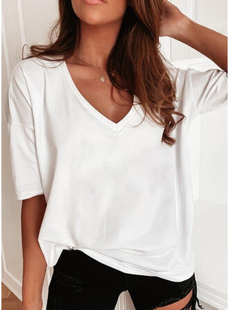 Solid V-Neck 1/2 Sleeves T-shirts