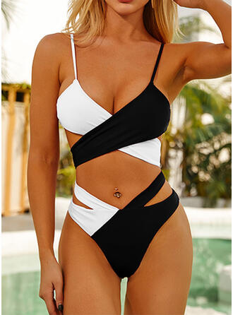 Splice color Ruffles Cross Animal Print Strap Halter V-Neck Sexy Vintage Attractive Eye-catching Bikinis Swimsuits