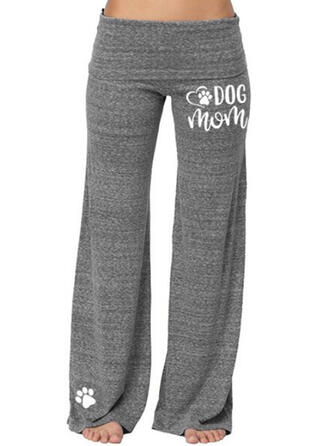Solid Print Plus Size Casual Sporty Yoga Lounge Pants