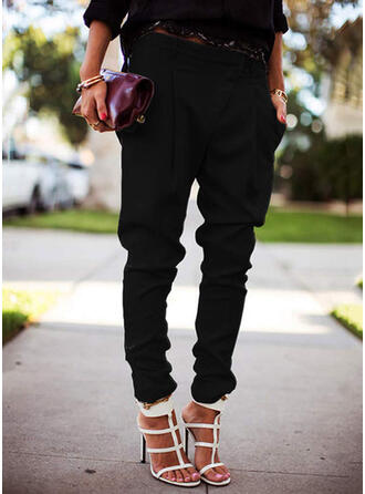 Solid Long Casual Plus Size Pocket Shirred Pants