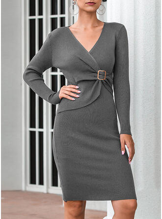 Solid Long Sleeves Sheath Above Knee Casual Wrap Dresses