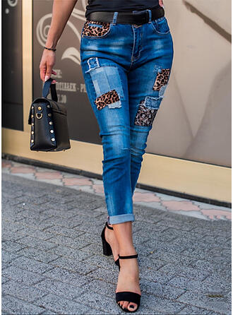 Leopard Denim Cropped Casual Sexy Plus Size Pocket Ripped Splice Color Denim & Jeans