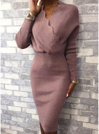 Solid Long Sleeves Bodycon Knee Length Little Black/Elegant Sweater Dresses