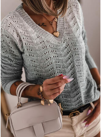 Gradient V-Neck Casual Sweaters