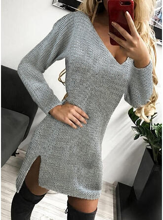 Solid Knit Long Sleeves Sheath Above Knee Casual Sweater Dresses