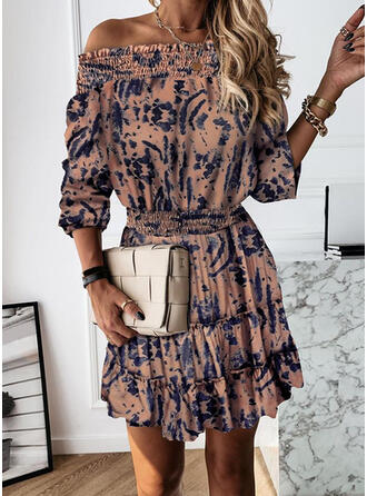 Tie Dye 3/4 Sleeves A-line Above Knee Casual Skater Dresses