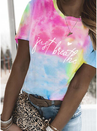 Heart Print Tie Dye Letter Round Neck Short Sleeves T-shirts