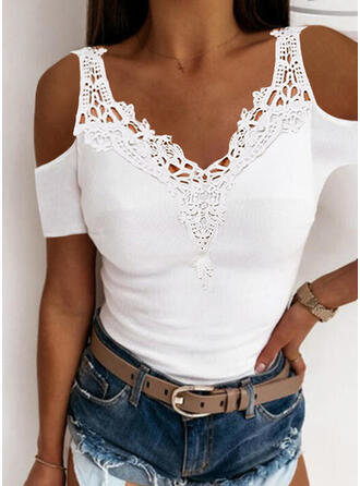 Solid Lace Cold Shoulder Short Sleeves Sexy Blouses