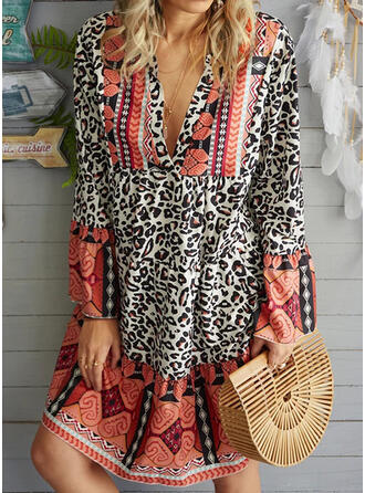 Print/Leopard Long Sleeves Shift Above Knee Casual/Vacation Tunic Dresses