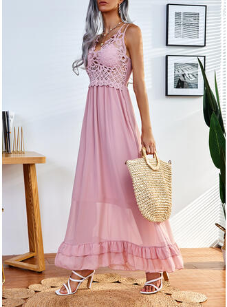 Solid Lace Sleeveless A-line Slip/Skater Casual Maxi Dresses