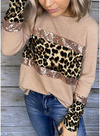 Color Block Sequins Leopard Round Neck Long Sleeves Casual Knit Blouses