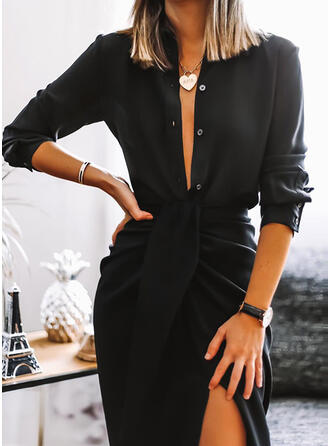 Solid Long Sleeves Sheath Knee Length Little Black/Casual Dresses