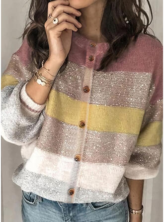 Polyester Long Sleeves Color Block Cardigans
