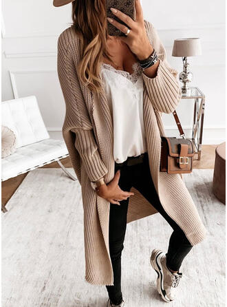 Acrylic Long Sleeves Solid Ribbed Cardigans