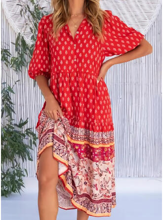 Print 1/2 Sleeves A-line Skater Casual Midi Dresses