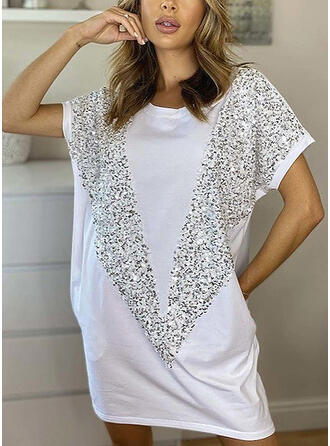 Sequins Short Sleeves Shift Above Knee Casual T-shirt Dresses