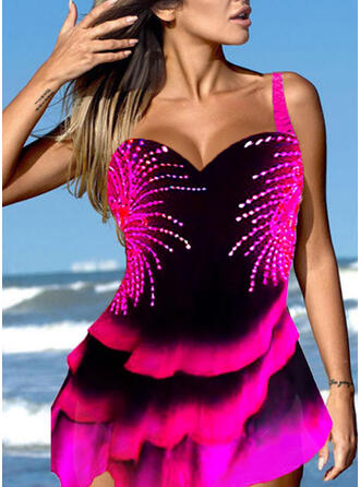 Splice color Ruffles Strap V-Neck Retro Boho Swimdresses Swimsuits