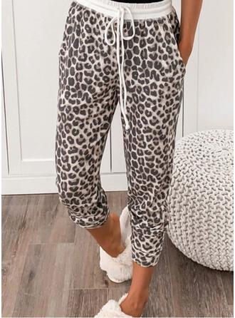 Leopard Drawstring Cropped Casual Sporty Pants
