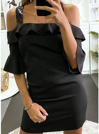Sequins/Solid 1/2 Sleeves/Flare Sleeves Bodycon Above Knee Little Black/Casual Dresses