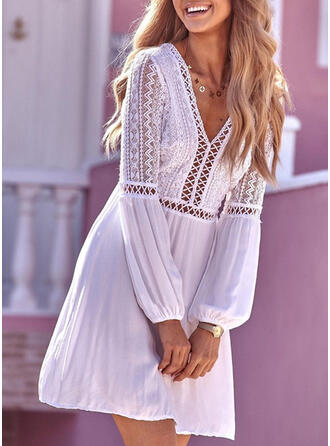 Lace/Solid Long Sleeves Shift Above Knee Casual/Vacation Tunic Dresses