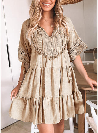 Lace/Solid/Tassel 1/2 Sleeves Shift Above Knee Casual/Vacation Tunic Dresses