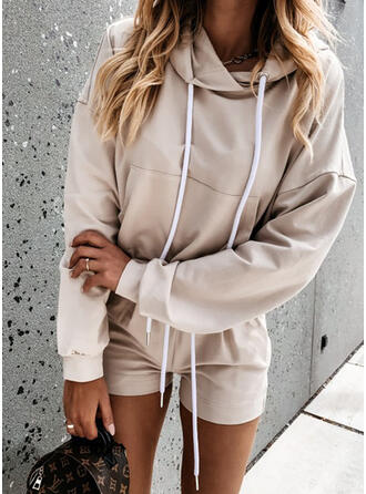 Solid Pockets Drawstring Casual Sporty Shorts Jumpsuits & Rompers