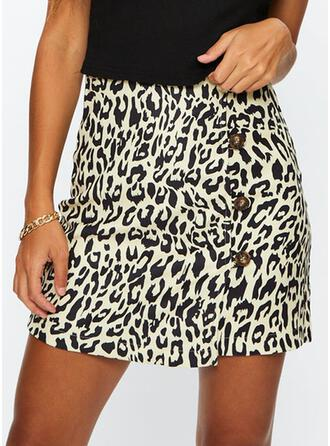 Polyester Animal Print Above Knee Pencil Skirts