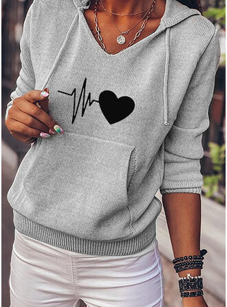 Print Pocket Heart Hooded Casual Sweaters
