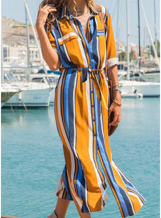 Color Block/Striped Long Sleeves A-line Shirt Casual/Vacation Midi Dresses